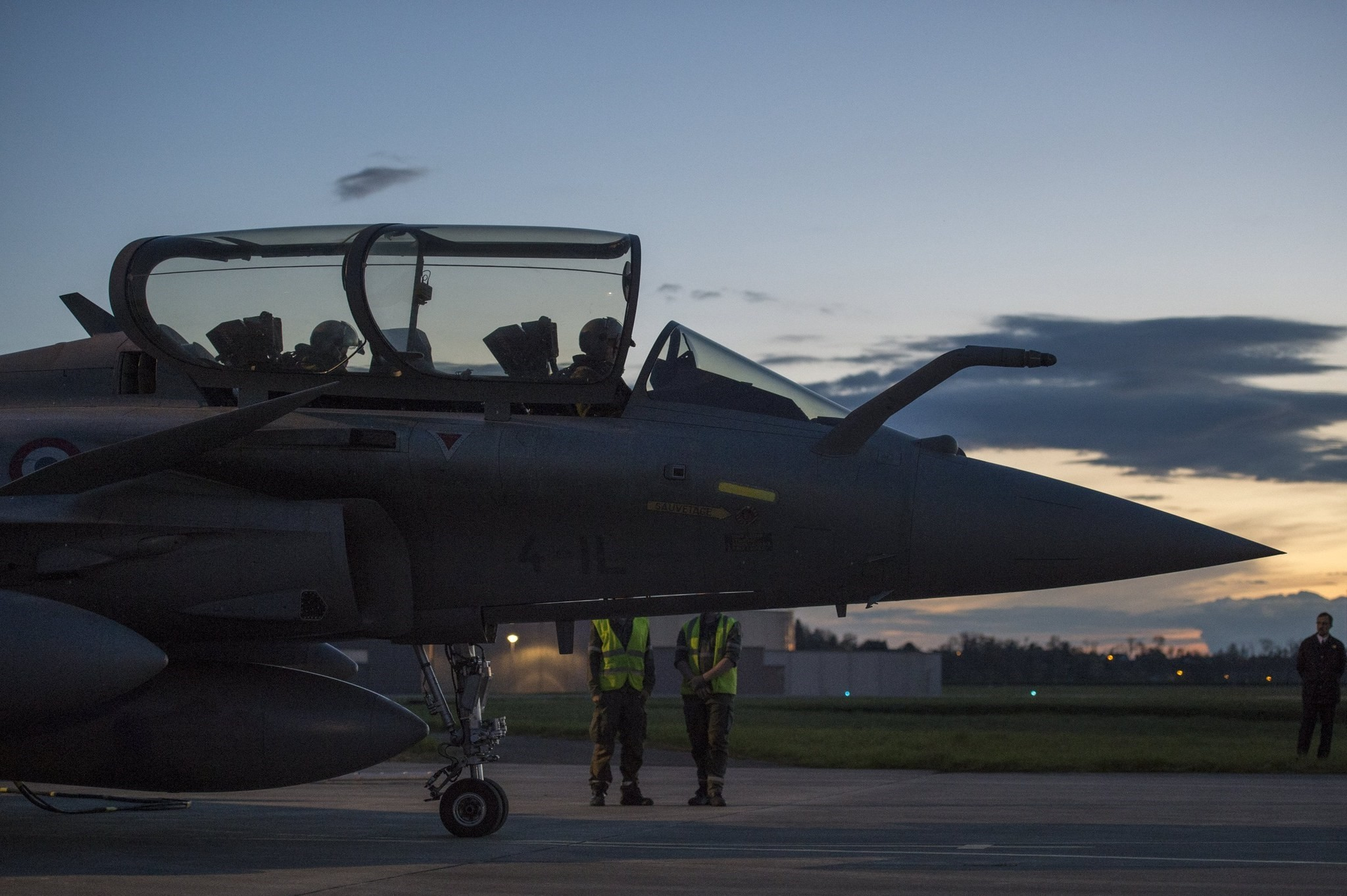 Photo made available by the French Defence audiovisual communication and production unit (ECPAD) shows Rafale warplanes preparing for take off at the Saint-Dizier aerial military base, eastern France, late 13 April 2018.
