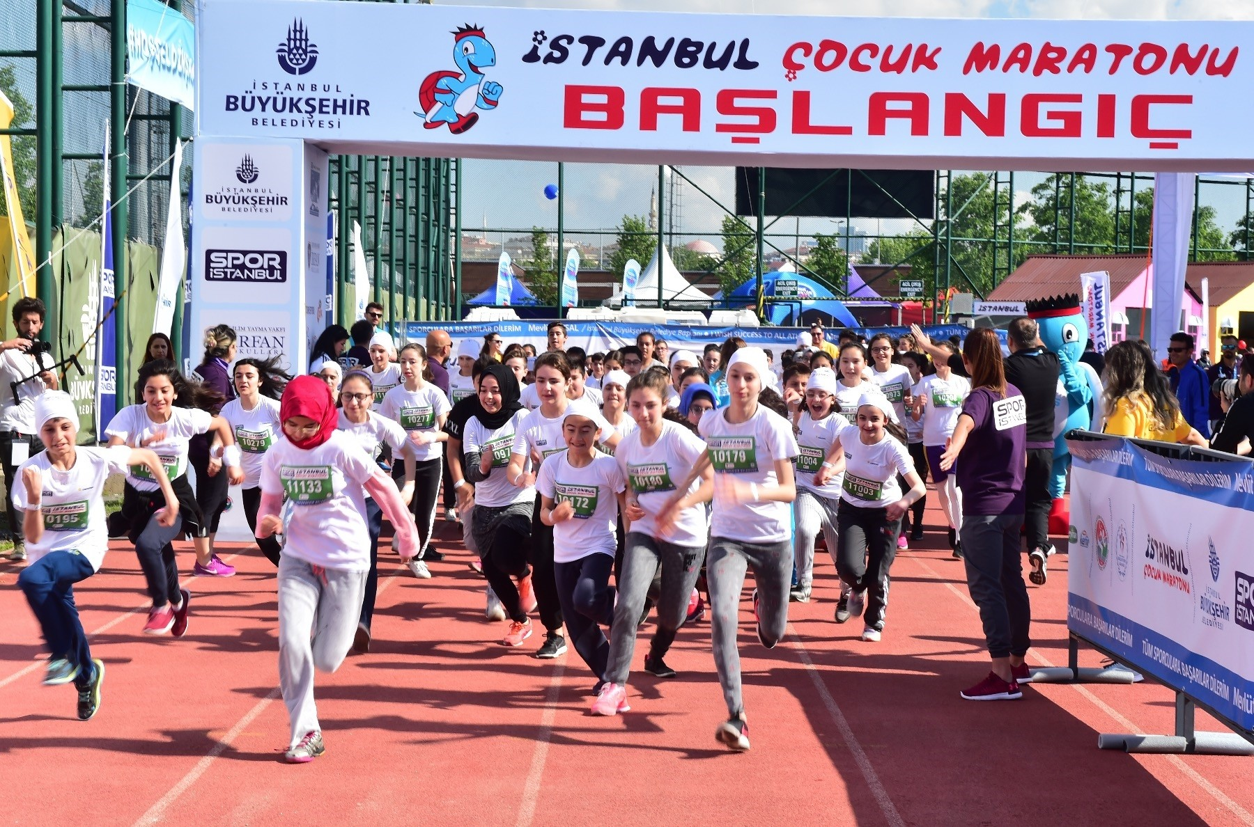 Children of all ages raced in the marathon though  the length of track got longer with their age.