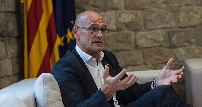 Chief of Foreign Affairs, Institutional Relations and Transparency Raul Romeva speaks during an AFP interview on September 26, 2017 in Barcelona. (AFP Photo)