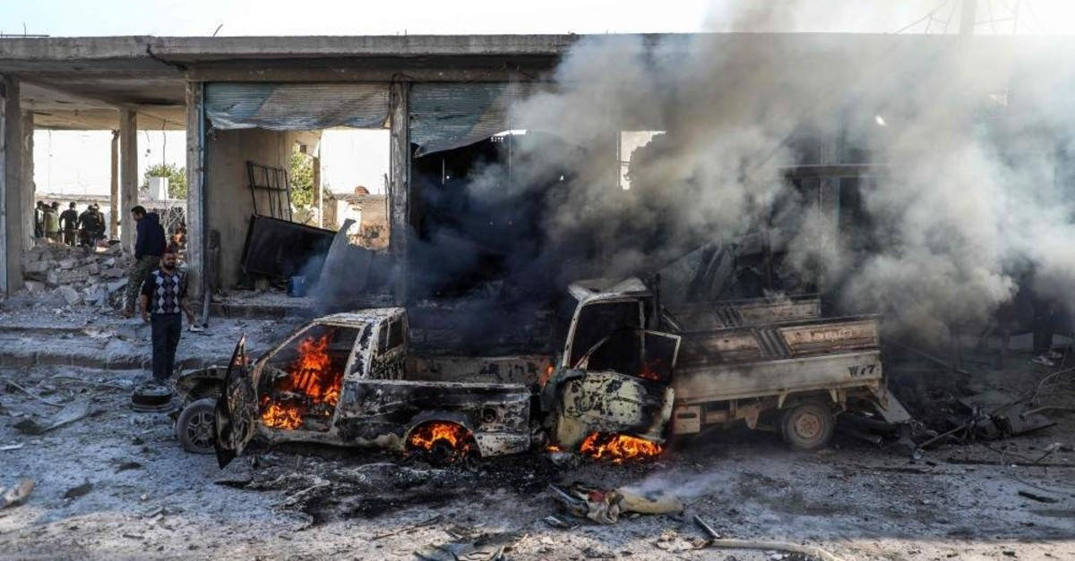 This picture taken on November 23, 2019 shows the aftermath of a car bomb explosion at the industrial zone in the northern Syrian town of Tal Abyad, on the border with Turkey. (AFP Photo)