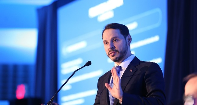 Treasury and Finance Minister Berat Albayrak presents Turkey's new reform package at a meeting with international investors, Washington D.C., April 11, 2019.