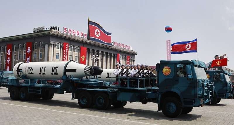 North Korean military vehicles carrying missiles drive past during a parade for the 'Day of the Sun' festival on Kim Il Sung Square in Pyongyang, North Korea, April 15, 2017. (EPA Photo)