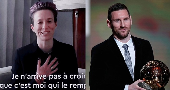 Photos from Reuters (L) and AP (R) show Megan Rapinoe and Lionel Messi receiving the Ballon d'Or in Paris, France on Dec. 2, 2019.