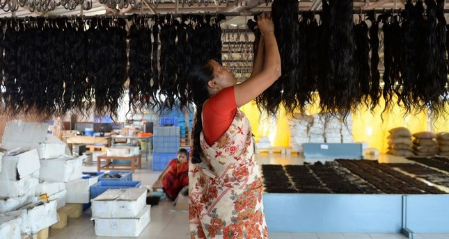 An Indian worker hangs human hair to dry after being washed at Raj Hair International's processing center in Alinjivakkam on the outskirts of Chennai.