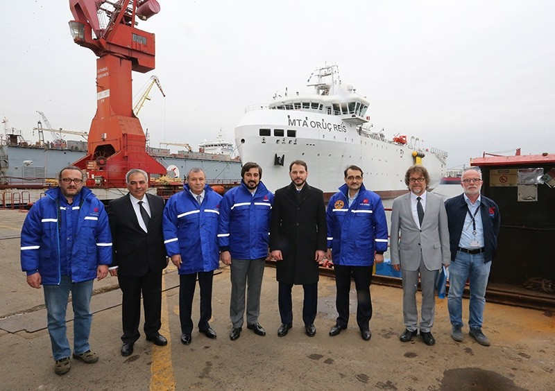 Energy and Natural Resources Minister Berat Albayrak (fourth from the right) conducted on site-examinations on the MTA Oruu00e7 Reis seismic vessel. (AA Photo)