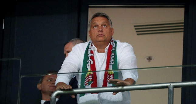 Hungarian Prime Minister Viktor Orban in the stands before the Hungary vs Portugal football match in Budapest, Sept. 3.