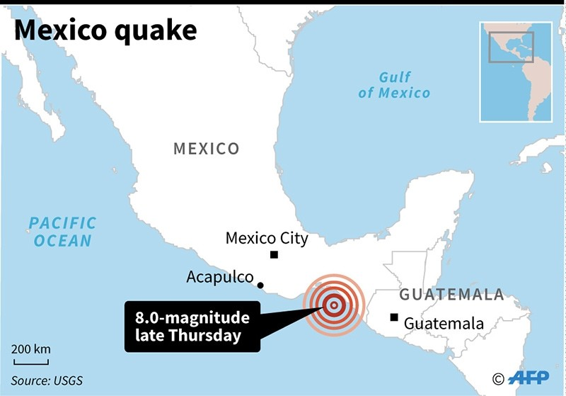 Epicentre of a 8.0 magnitude quake that hit the coast of Mexico late Thursday.