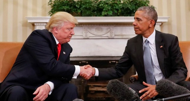 The U.S. President Donald Trump and former president Barack Obama shake hands following their meeting in the Oval Office of the White House in Washington on Nov. 10 2016.