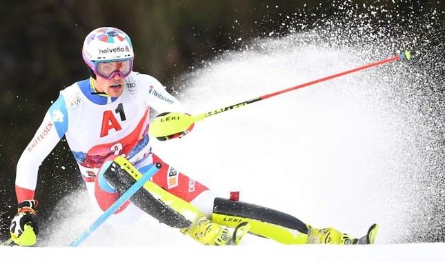 Switzerland's Daniel Yule competes in the first run of the men's Slalom event at the FIS Alpine Ski World Cup in Austria, Jan. 26, 2020. AFP Photo
