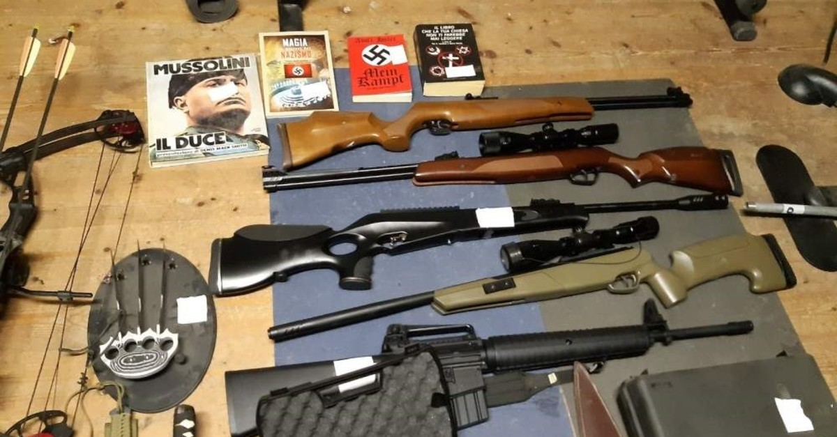 Italian police display seized weapons including automatic rifles, Nov. 28, 2019. (REUTERS Photo)