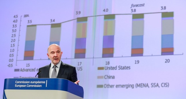 European Commissioner for Economic and Financial Affairs, Pierre Moscovici, gives a press conference on the Autumn 2018 Economic Forecast at the European Commission in Brussels yesterday.