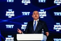 وزير الخارجية التركي يتحدث في افتتاح  الدورة الثالثة لأعمال المنتدى العالمي (الأناضول)