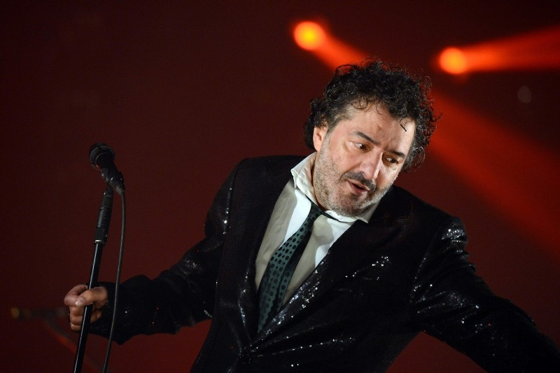 In this file photo taken on December 7, 2012 Algerian singer Rachid Taha performs on stage during the 34th Trans Musicales Music Festival in Rennes, western France. (AFP Photo)