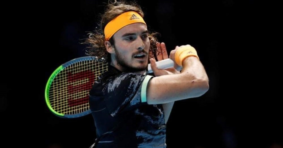 Tsitsipas in action during his semifinal match against Federer, London, Nov. 16, 2019. (Reuters Photo)