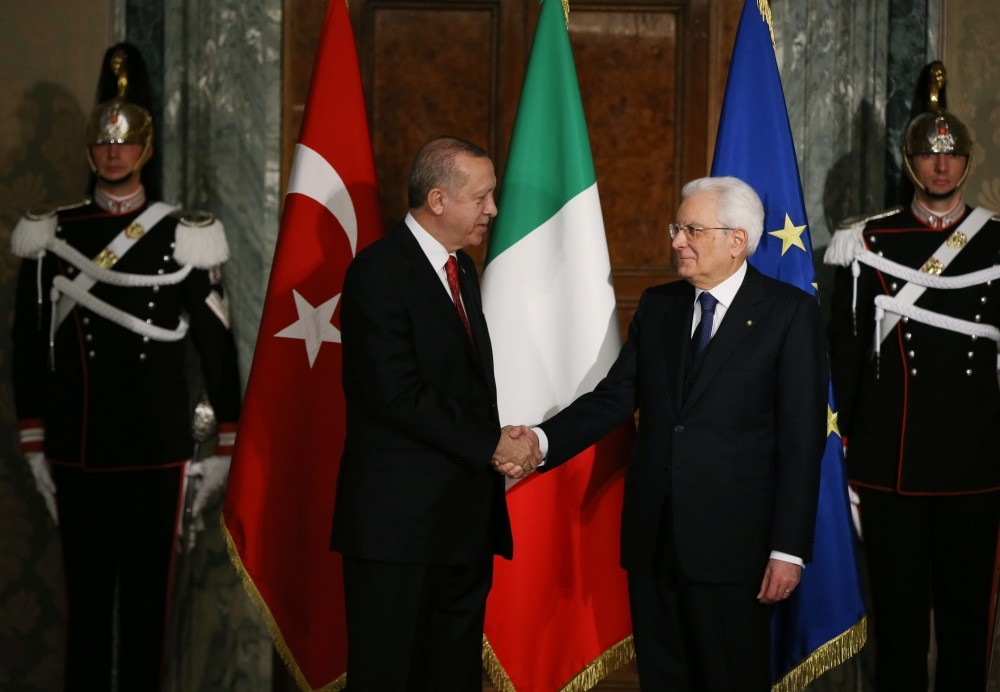 President Erdou011fan (L) and Italian counterpart President Matarella pose before a closed-door meeting to discuss strengthening bilateral relations, Quirinale Palace, Rome, Jan. 5.