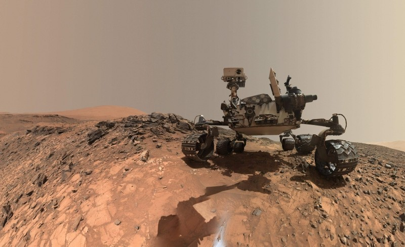 This NASA photo released June 7, 2018 shows a low-angle self-portrait of NASA's Curiosity Mars rover vehicle at the site from which it reached down to drill into a rock target called ,Buckskin, on lower Mount Sharp. (AFP Photo/NASA)