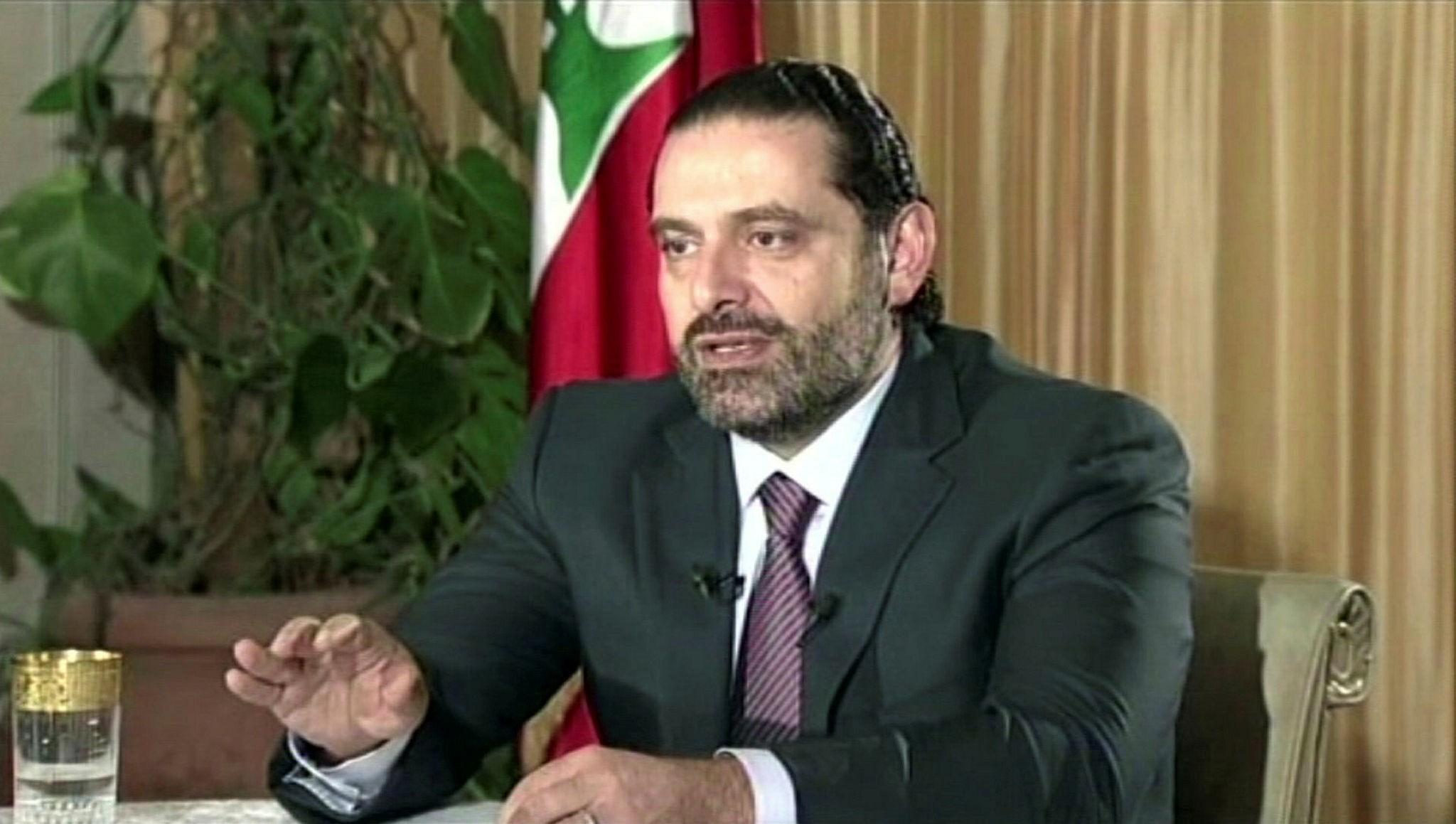 Lebanese Prime Minister Saad Hariri gives a live TV interview in Riyadh, Saudi Arabia, Nov. 12.