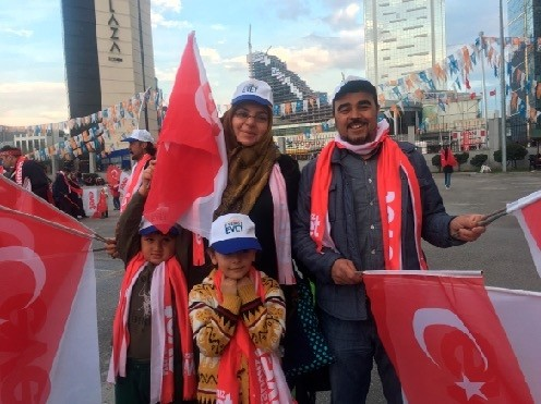 AK Party supporters seen coming together in Ankara after the referendum victory on April 16.