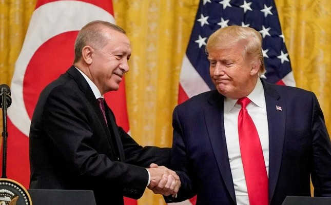 President Recep Tayyip Erdo?an shakes hand with the U.S. President Donald Trump during a joint news conference at the White House in Washington D.C., Nov. 13, 2019. REUTERS Photo
