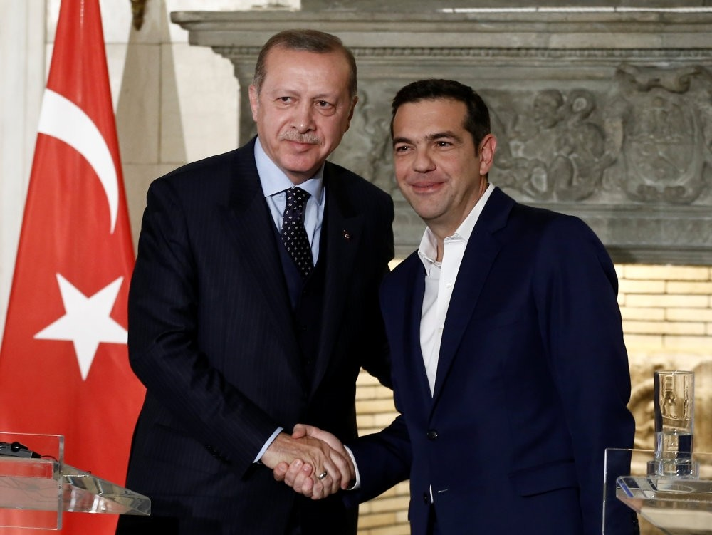 President Recep Tayyip Erdou011fan and Greek Prime Minister Alexis Tsipras attend a press conference following their meeting at the Maximos Mansion, Athens, Greece Dec. 7.