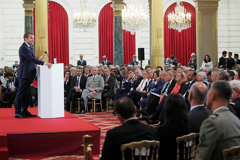 French President Emmanuel Macron delivers a speech during the annual French ambassadors' conference at the Elysee Palace in Paris on Aug. 27, 2018. (AFP Photo)