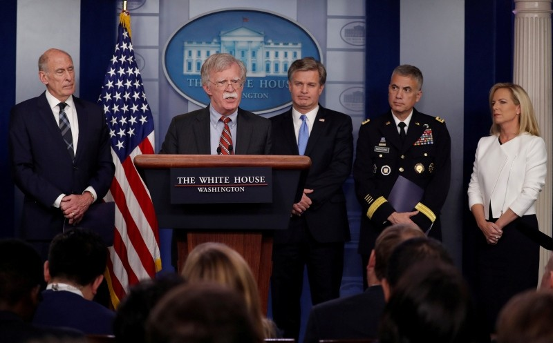 U.S. Director of National Intelligence Dan Coats, WH National Security Advisor Bolton, FBI Director Christopher Wray, NSA Director General Paul Nakasone and DHS Secretary Kirstjen Nielsen hold a briefing on election security.  (REUTERS Photo)