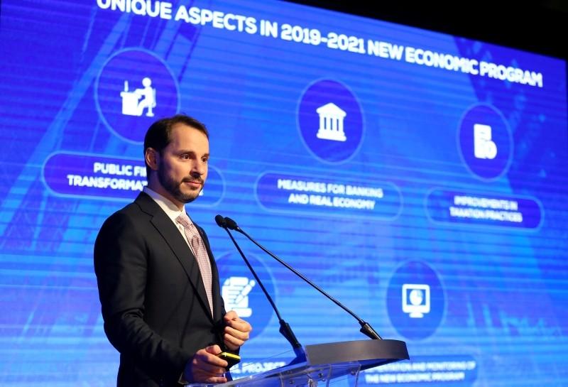 Treasury and Finance Minister Berat Albayrak speaks during a presentation to announce medium-term economic programme in Istanbul, Turkey September 20, 2018. (Reuters Photo)