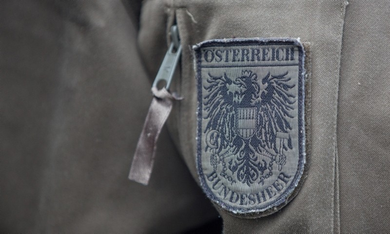 The badge of the Austrian Armed Forces pictured during the celebrations on Austrian National Day (Nationalfeiertag) on Heldenplatz square in Vienna, October 26, 2016. (EPA Photo)