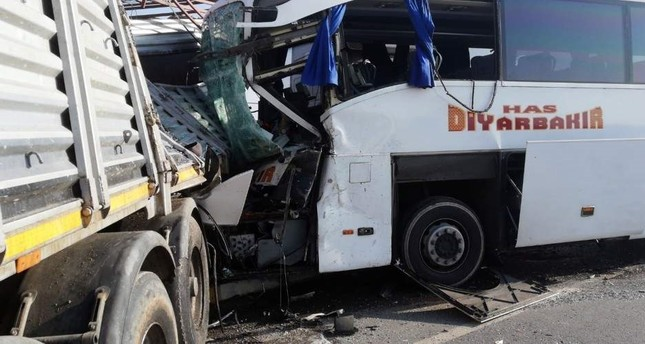 Two were killed after a bus and truck collided in Afyonkarahisar, Nov. 19, 2019. (DHA Photo)