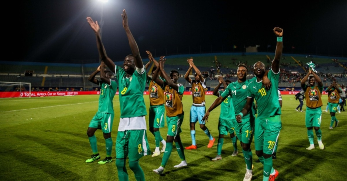 Senegal celebrates after 1-0 win over Tunisia in the Africa Cup of Nations semi-final. (AA Photo)