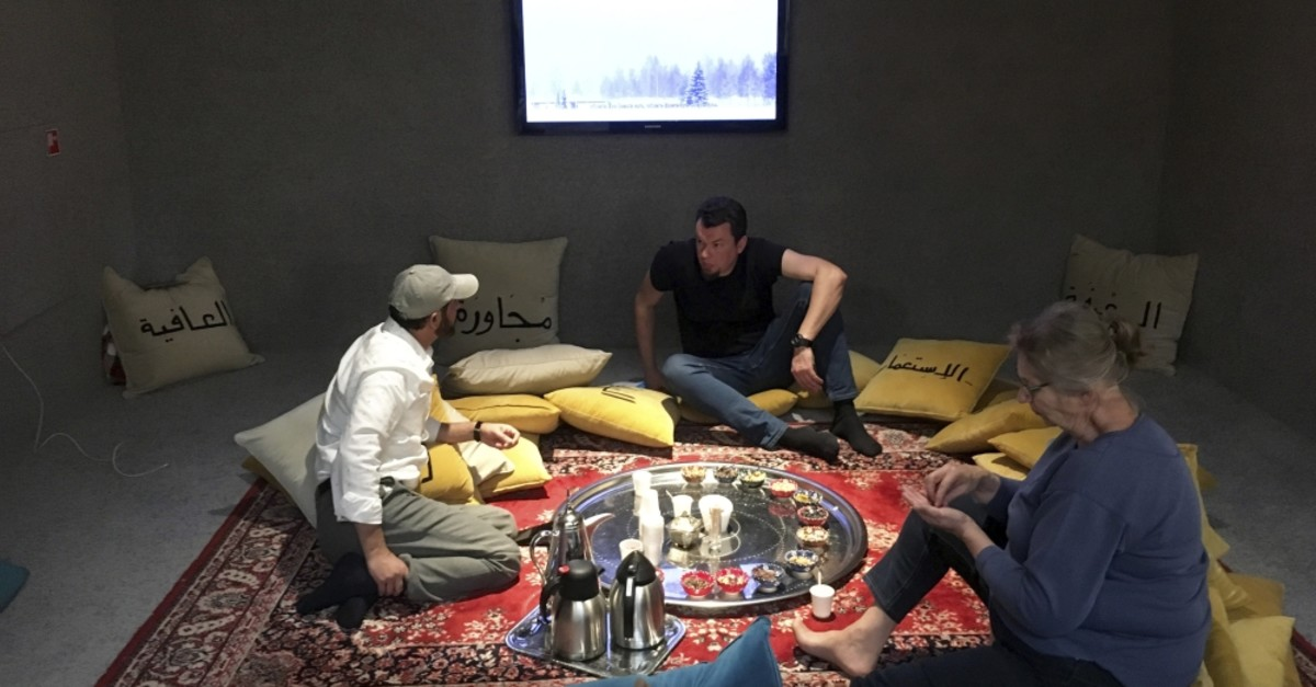 Al Madafeh/Living room: the right to host and to be hosted, (2016-ongoing), running by an Afghani-Dutch artist, Shefik, as part of Hilal and Pettiu2019s exhibition.