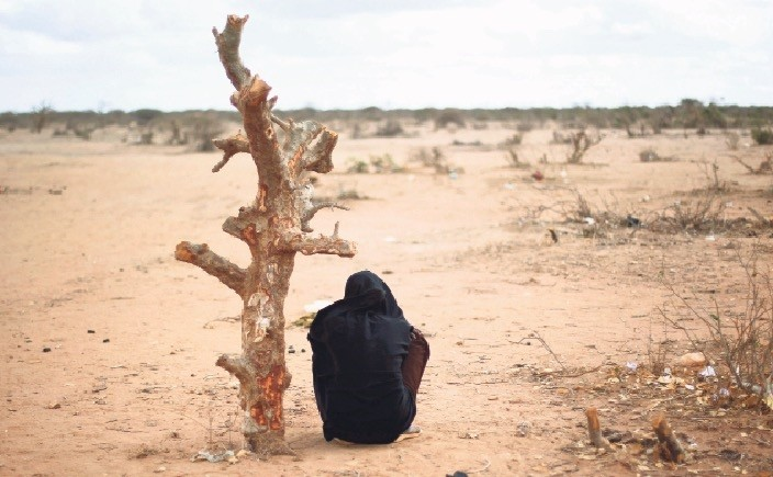 A pregnant Somali woman sits by a tree trunk at the UNHCRu2019s Ifo Extension camp, eastern Kenya. Scientists say climate change could dramatically increase the number of people seeking asylum in Europe.