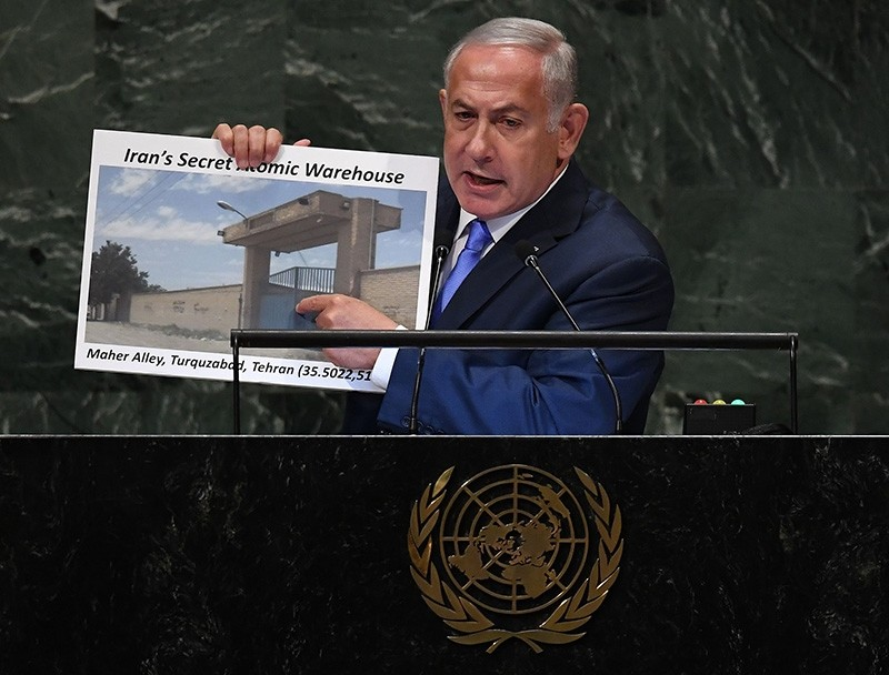 Israeli Prime Minister Benjamin Netanyahu Prime addresses the General Assembly at the United Nations in New York Sept. 27, 2018. (AFP Photo)