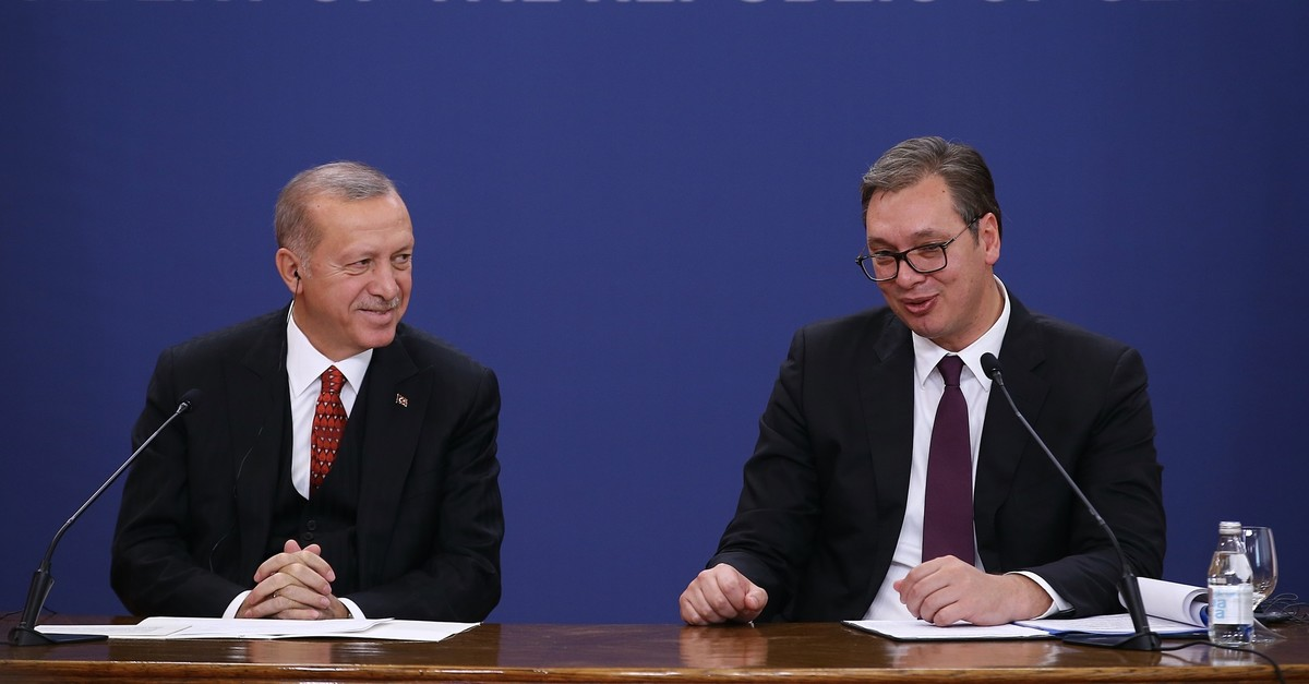 President Recep Tayyip Erdou011fan, left, and Serbian President Aleksandar Vucic speak at a joint press conference, Oct. 7, 2019.