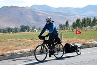 The assistant manager of Bitlis Public Library, Hakan Yücel cycles kilometers to hand out books to children.  With a box fastened to the back of his bicycle, Yücel goes from village to village...