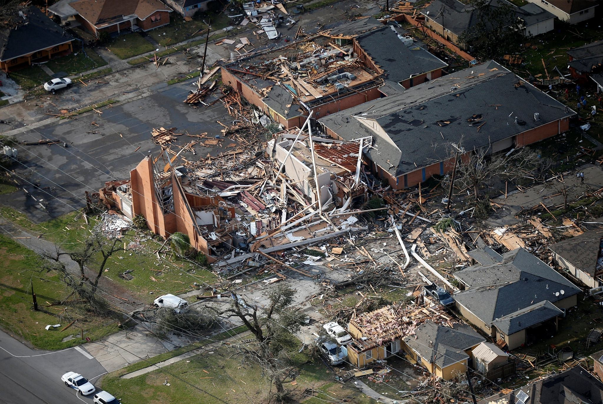 A destroyed church and homes are seen in this aerial photo after a tornado tore through the eastern neighborhood in New Orleans, Tuesday, Feb. 7, 2017. (AP Photo)