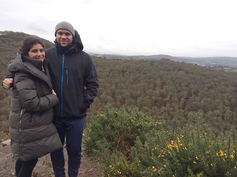 An undated handout photo made available by Daniela Tejada showing Durham University PhD student Matthew Hedges and his wife Daniela Tejada at an unknown location. (EPA Photo)
