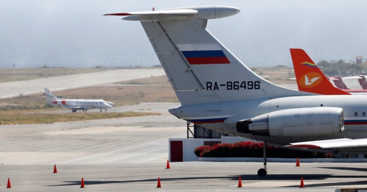 An airplane with the Russian flag is seen at Simon Bolivar International Airport in Caracas, Venezuela March 24, 2019. (Reuters Photo)