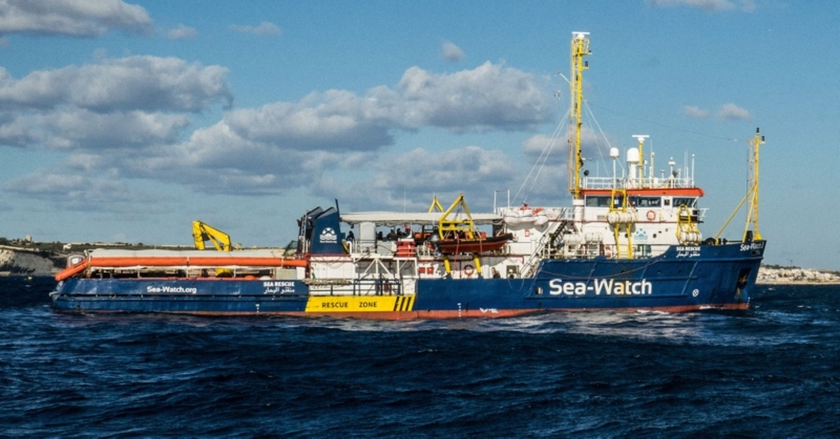 In this file photo taken on January 4, 2019 the Dutch-flagged rescue vessel Sea Watch 3 sails the Mediterranean about 3 nautical miles off Malta's coast (Rear). (AFP Photo)