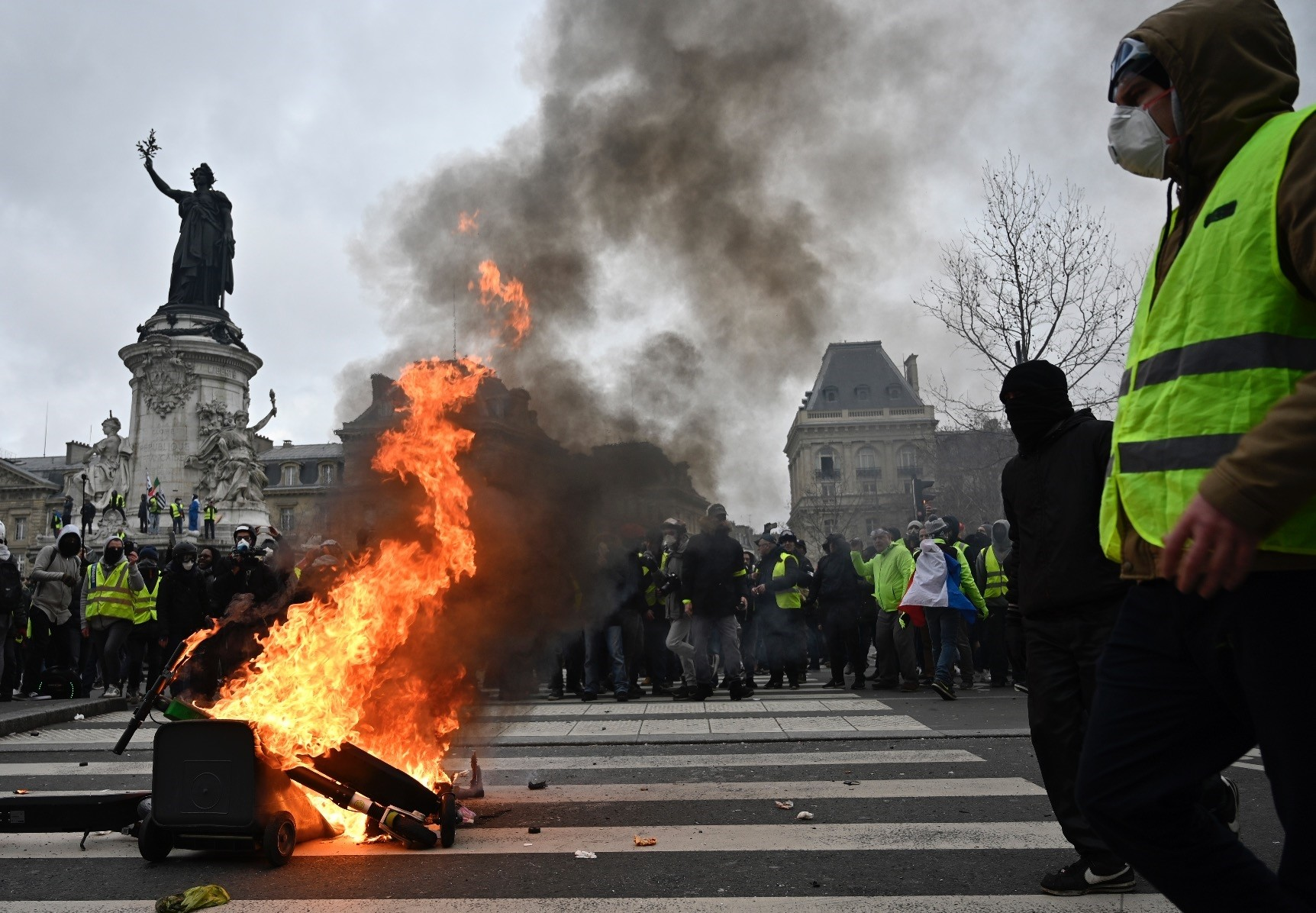 u2018Yellow Vestu2019 protests have been held for a dozen weekends since November in response to rising fuel taxes and President Emmanuel Macron's perceived anti-middle and working class policies. The Square of the Republic, Paris, Feb. 2, 2019.