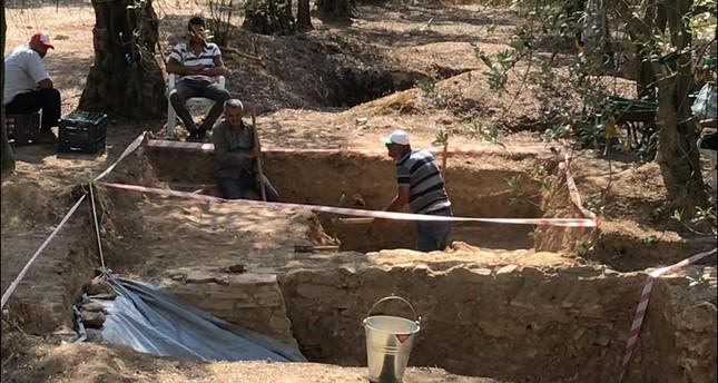 Unique ancient terracotta tomb found at olive grove in Turkey's Bursa