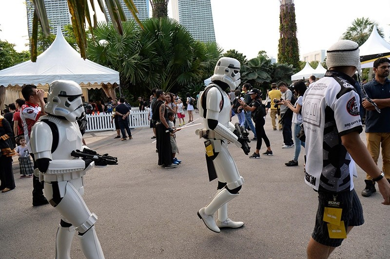 ,Stormtroopers, walk at the ,Star Wars Day: May the 4th be with you, festival at Gardens by the Bay in Singapore on May 4, 2017. (AFP Photo)