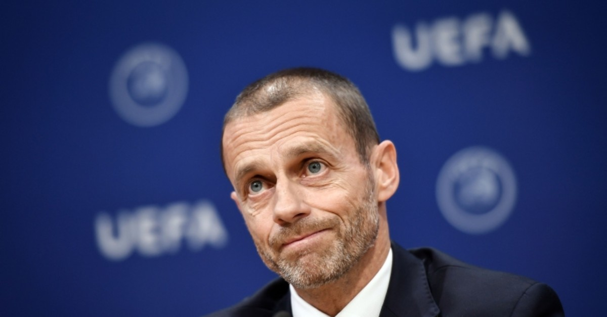 UEFA president Aleksander Ceferin looks on during a press conference following a meeting of the executive committee at the UEFA headquarters, in Nyon, Switzerland on December 4, 2019. (AFP Photo)