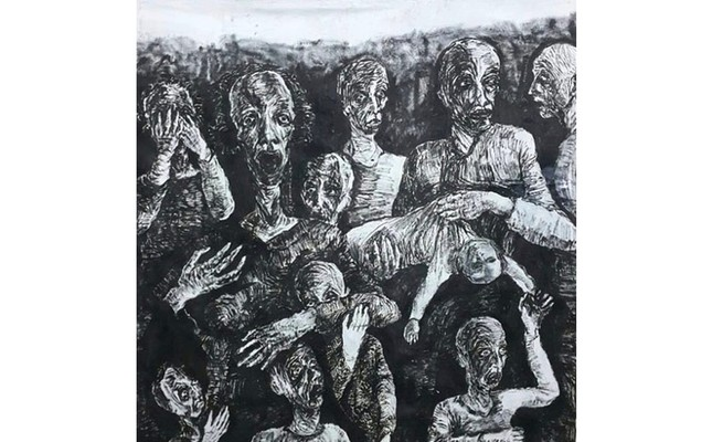 Savaş Çarpışması (War Clash, 2018) by Ferhat Salman, oil painting, 220 x 200 cm (photo courtesy of ArtfulLiving).