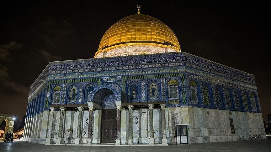 Dome of the Rock Mosque within the Al-Aqsa compound in Al-Quds (AA Photo)