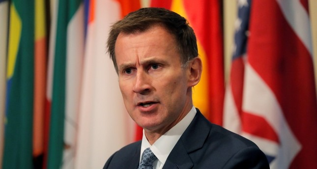 British Foreign Secretary Jeremy Hunt speaks outside the United Nations Security Council prior to presiding over a meeting of the Council at U.N. headquarters in New York City, August 23, 2018. (REUTERS Photo)