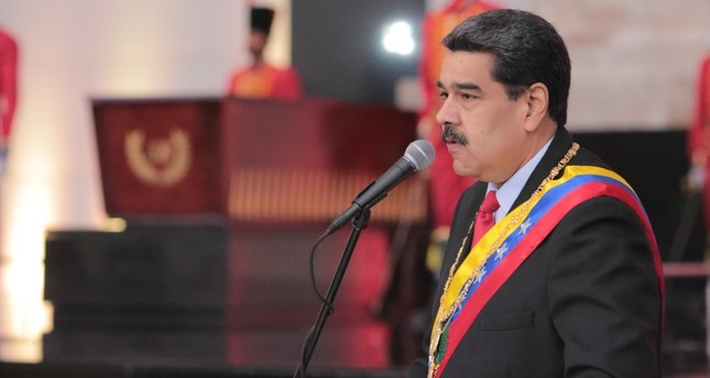 Venezuela's President Nicolas Maduro delivers a speech during an event to commemorate the Bicentennial of the Battle of Boyaca at the National Pantheon, in Caracas on August 7, 2019. (AFP Photo)