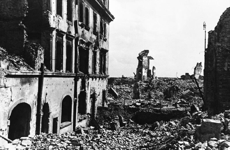 This Sept. 27, 1945, b/w file photo shows the shattered shell of the American Consulate building in devastated Warsaw, Poland, after World War II. (AP Photo)
