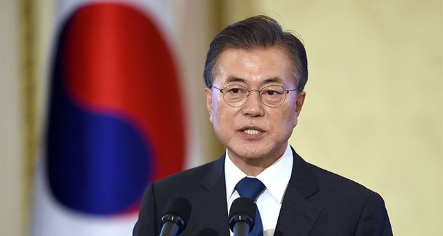 South Korea's President Moon Jae-In speaks during a press conference marking his first 100 days in office at the presidential house in Seoul. (AFP Photo)