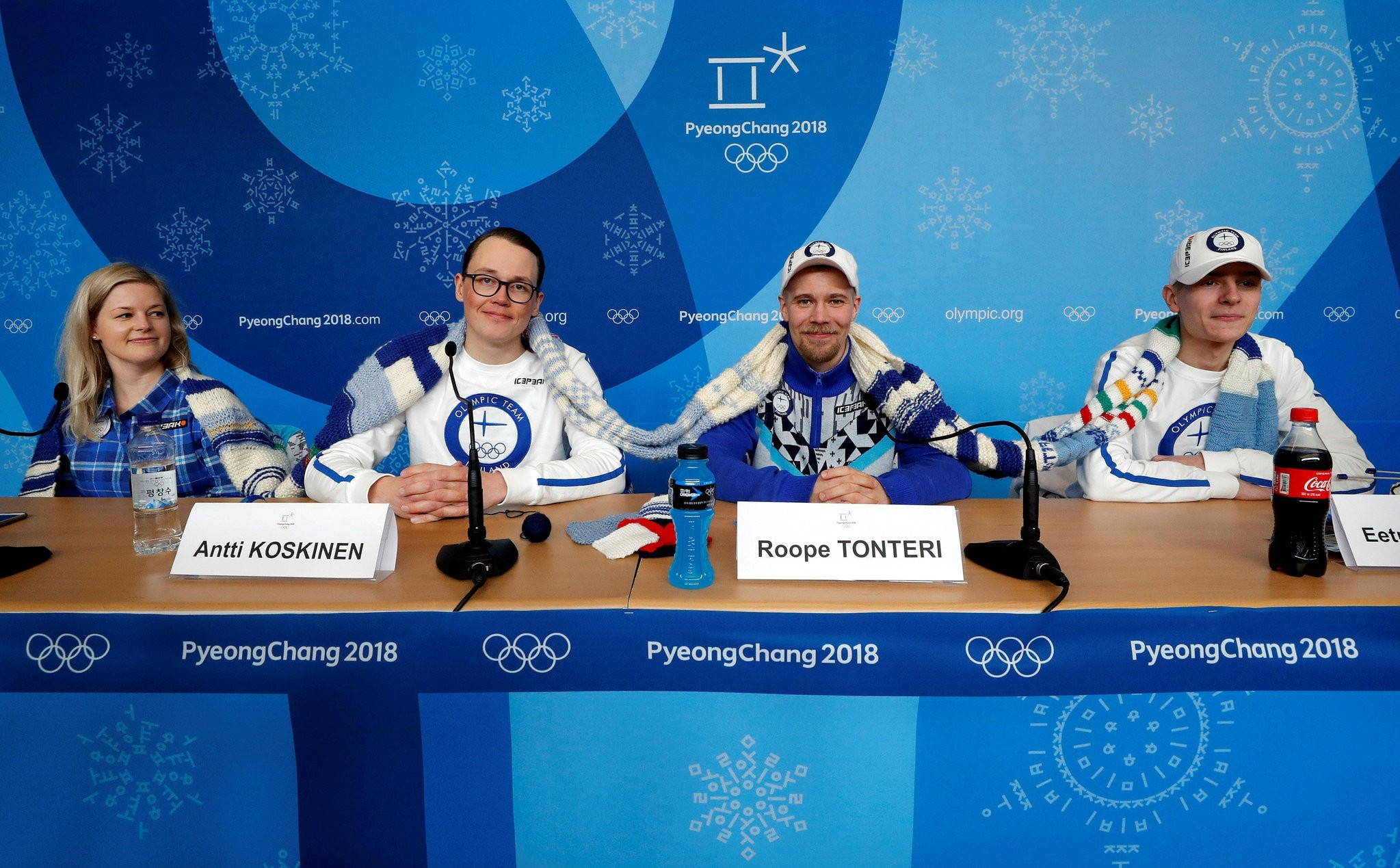 Members of the Finland Olympic team attend a news conference regarding the knitting project in Pyeongchang, South Korea, February 14, 2018. (REUTERS Photo)